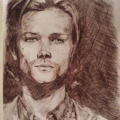 Pen sketch of Jared Padalecki