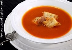 www.fortheloveofc... FIRE ROASTED TOMATO SOUP WITH HOMEMADE CROUTONS
