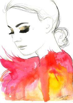 Print from original watercolor fashion