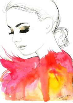 Print from original watercolor fashion illustration by Jessica Durrant titled Golden Eye via Etsy