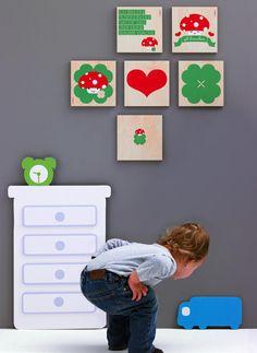 Wandbild für Kinder mit Pilz, Herz und Kleeblatt // Wallart for kids with heart, clover and toad by kusskuss via DaWanda.com