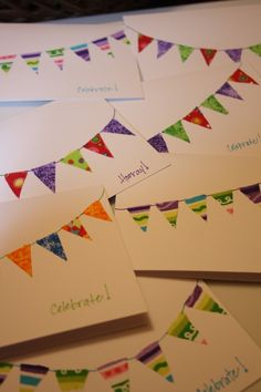 Love these homemade cards using fabric scraps