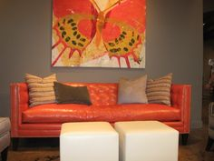 SAMPLE DESIGN ONLY - Tangerine Orange Leather Sofa spotted at High Point Fall Market by Jennifer Sergent.