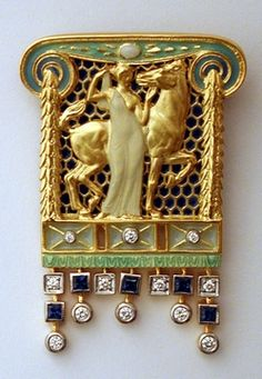 Current Masriera Enameled Gold Pendant/Brooch - after an original  design by Lluis Masriera (1872 - 1958)