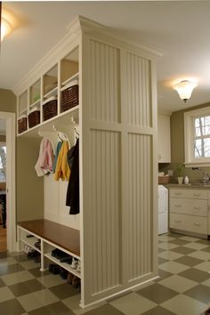 Combination Mudroom and Laundry Room farmhouse entry Fantastic mud room or foyer storage Mudroom Laundry Room, Laundry Room Design, Laundry Area, Mudroom Cubbies, Small Laundry, Mudroom Organizer, Bathroom Laundry, Laundry Shoot, Basement Bathroom