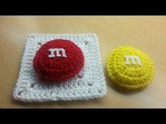 ▶ #Crochet M&M candy Granny Square TUTORIAL #crochetgrannysquare - YouTube