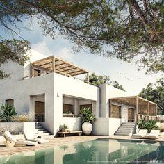 Ca la Siesta — Bataille Living Mediterranean Homes Exterior, Mediterranean Architecture, Modern Mediterranean Homes, Tropical Architecture, Spanish Style Homes, Spanish House, Spanish Colonial, Future House, My House