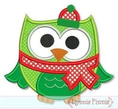 Embroidery Designs - Christmas Winter Owl Applique 4x4 5x7 6x10 - Welcome to Lynnie Pinnie.com! Instant download and free applique machine embroidery designs in PES, HUS, JEF, DST, EXP, VIP, XXX AND ART formats.