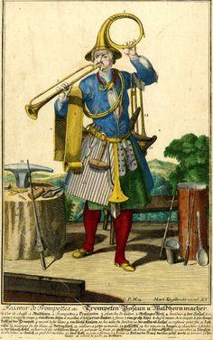 Интересное и забытое - быт и курьезы прошлых эпох. - Гротескные костюмы- продолжение. Martin Engelbrecht,1730-50 trumpet maker