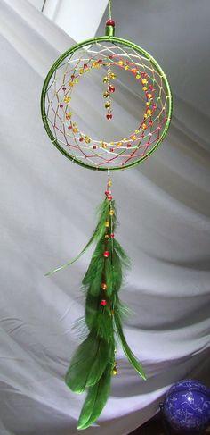 Christmas Ornament Handmade Boho Christmas Decor Jingle Bells Christmas Gift Green Red Gold Boho Dreamcatcher Silk Christmas Dreamcatcher by TigerEmporium on Etsy