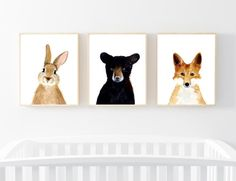 Woodland babies Set of 3 Prints Animal Paintings fox by zuhalkanar