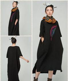 Jiqiuguer оригинальный бренд краткое асимметричный рукав реглан платье карман…