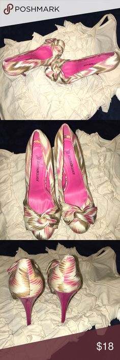 Sale Tribal print fabric pumps Beautiful high heels by justfab . Lovely summer colors fabric! size 81/2. JustFab Shoes Heels