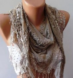 Stone Color Lace and Elegance Shawl / Scarf  with by SwedishShop, $17.90