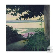 """Trademark Fine Art """"Honfleur and the Baie"""" by Felix Vallotton Painting Print on Wrapped Canvas Size: H x W x D Oil On Canvas, Canvas Art, Canvas Size, Critique D'art, Honfleur, Beach Landscape, Landscape Art, Landscape Paintings, Illustrations"""