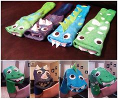 Home-Made Hand-Made Dinosaur Dino Monster Sock Puppets