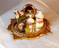 NEW DOLLHOUSE GOLD LEAF MIRRORED VANITY TRAY, PERFUME, PORCELAIN, ROSES, MIRROR