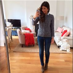 Mimi Ikonn | Grey sweater, skinny jeans, ankle boots. Winter outfit.