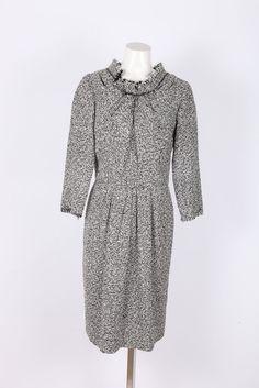 Oscar de la Renta Black/White Tweed 3/4 Sleeve Fringe Dress SZ 6 #OscardelaRenta #FringeDress