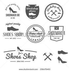 Set Of Vintage Logo, Badge,emblem And Logotype Stock Vector - Illustration of furniture, creative: 50874777 Logo Shoes, Lokal, Logo Design, Graphic Design, Retro Logos, Shop Logo, Shoe Shop, Logo Inspiration, Badge