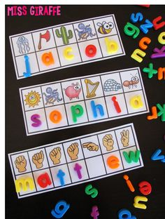 Name activities cards that also practice beginning sounds or sign language made custom for the kids' names in your class!! Use alphabet magnets, dry erase markers, whatever for them to make their name -- LOVE THIS!!