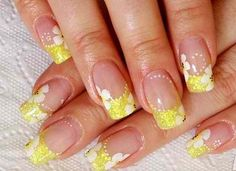 Yellow french manicure with white flower nail art for the summer time ♡