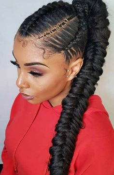 Braided Ponytail Styles For Black Hair - All About Style Rhempreendimentos. Braided Ponytail Hairstyles, Ponytail Styles, Box Braids Hairstyles, Trendy Hairstyles, Ponytail With Weave, Ponytail Ideas, Updo Styles, Fishtail Ponytail, Cornrow Ponytail