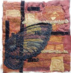 "Created with fabrics, fibres, threads, copper wire, free motion stitching and water soluble stabilizer. 6"" x 6"" ""Memory Remnants"""