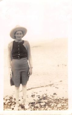 Photograph Snapshot Vintage Black and White: Woman Dress Hat Beach 1920's