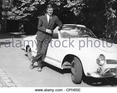 Prussia, Friedrich Wilhelm Prince of, * 10.2.1939, German historian, leaning at his car type Volkswagen Karmann-Ghia 34, 1964, H - Stock Image