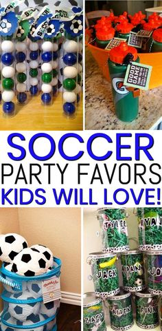 The best party favors for birthdays and end of season parties. Boys and girls will love any of these favor ideas from goodie bags to candy to gumballs to toys. Soccer Party Favors, Party Favors For Kids Birthday, Birthday Gift For Him, 8th Birthday, Birthday Ideas, Soccer Birthday Cakes, Planes Birthday, Soccer Banquet, Party Gift Bags