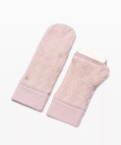 athletic apparel + technical clothing | lululemon Pink Mittens, Grey Gloves, Knitted Gloves, Black Knit, Fleece Fabric, Arm Warmers, Pink Color, Lululemon