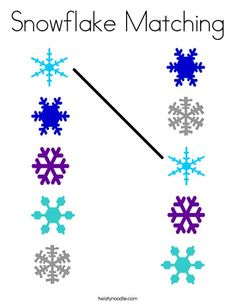 Snowflake Matching Coloring Page - Twisty Noodle Preschool Learning Activities, Preschool Worksheets, Toddler Activities, Preschool Activities, Snowflakes Art, Snowflake Craft, Coloring Pages Winter, Christmas Worksheets, Winter Crafts For Kids