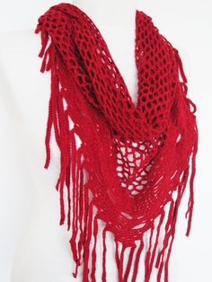 Hey, I found this really awesome Etsy listing at https://www.etsy.com/listing/117750748/red-knitted-fringed-scarf-shawl-lace