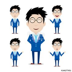 Vector: Set of businessman cartoon character with 5 expressions
