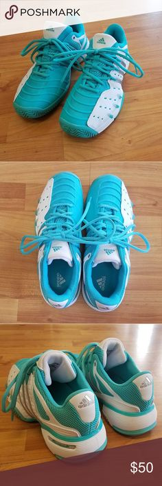 SOLD-ADIDAS Tennis Shoes EUC!! SOLD-GORGEOUS mint & white Adidas Tennis Shoes. These sneakers are in excellent condition and are so incredibly clean! No odor, no indents or foot marks on the insides from wear! Adidas Shoes