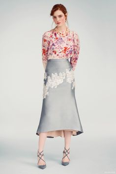 Audra Silk Flower Blouse, Bibhu Mohapatra Blue Skirt with Appliqué, Jimmy Choo Smoke Suede Shoes and Kenneth Jay Lane Double Strand Pearls