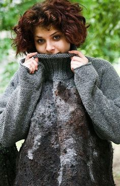 Eco style and boho chic Plus Size felted sweater from natural silk and A-Grade…