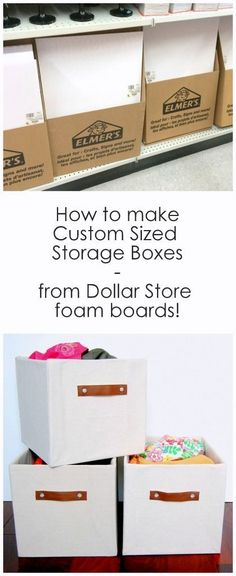 Can't find the right sized storage box? Easily make your own using foam boards from the dollar store. storage boxes How to make custom sized storage boxes from Dollar store foam boards Craft Paper Storage, Fabric Storage Boxes, Cube Storage, Craft Organization, Storage Baskets, Storage Ideas, Storage Solutions, Fabric Boxes, Fabric Basket
