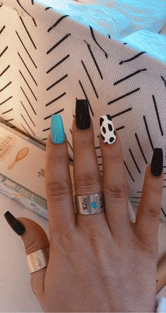 Short Nails Acrylic, Simple Acrylic Nails, Acrylic Nail Designs, Rodeo Nails, Western Nails, Summery Nails, Nails Turquoise, Country Nails, Cute Gel Nails