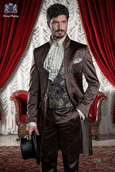 Traje de novio italiano levita coreana a medida, en tejido raso marrón con bordado de flores en bronce, modelo 1258 Ottavio Nuccio Gala colección Barroco 2015.