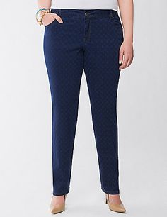 Our Lane Collection elevates your look with this sophisticated geo print skinny jean with our famous curve-hugging fit.  lanebryant.com