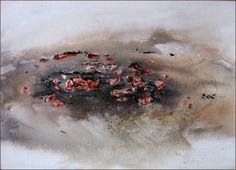 De sidste gløder  - akvarel