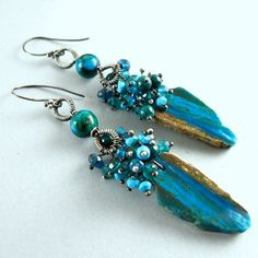 """Peruvian Blue Opal, Chrysocolla, Apatite, Quartz and Turquoise Wire Wrapped Earrings.  LOVELY!!  The Peruvian opal slice measures 27x13mm. I have oxidized all the silver and then lightly buffed it.  The total earring length measure 3 1/4""""(83mm.)mm.) from the top of the ear wire.  $184"""