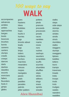 100 ways to say walk. Copied for my Daughter-Alex's school work