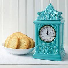David's Cookies Teal Clock Jar with Sugar Cookies