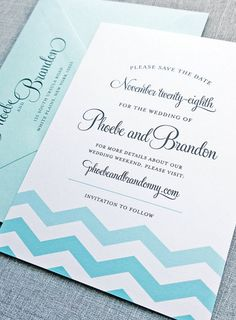 Chic chevron wedding invitation