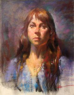 portrait pastel painting by Jian Wu