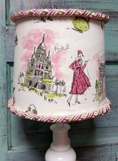 Lampshade Paris pink green Eiffel Tower Parisian lady braided trim drum shade by HolyChicBoutiqueCo on Etsy