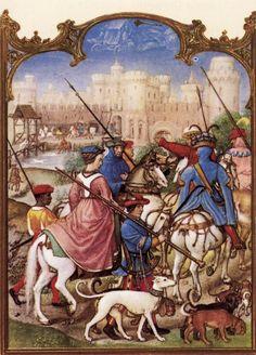 Le fatiche di Agosto: partenza per la caccia di dame e cavalieri - Breviario Grimani - manoscritto miniato - scuola Gand-Bruges - 1490-1510 -  Venezia - Biblioteca Nazionale di San Marco.